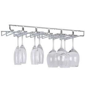 Hanging Wine Glass Rack - Chrome Image