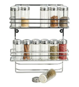 Hanging Chrome Spice Rack and Glass Bottles Image