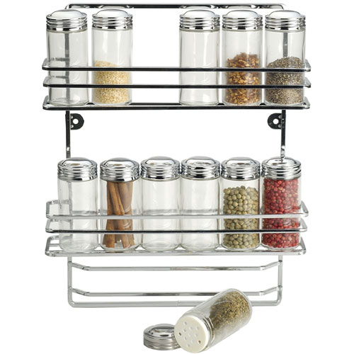 Hanging Chrome Spice Rack And Glass Bottles
