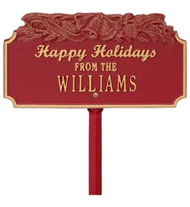 Happy Holidays Lawn Plaque - Bells Image