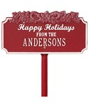 Happy Holidays Lawn Plaque - Candy Cane