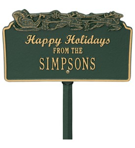 Happy Holidays Lawn Plaque - Sleigh Image