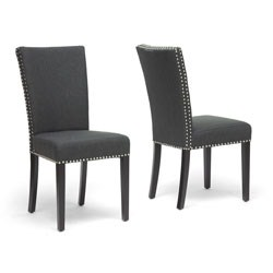 Harrowgate Dark Gray Linen Modern Dining Chair- Set of 2 by Wholesale Interiors Image