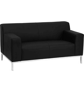 Hercules Definity Series Contemporary Leather Love Seat with Stainless Steel Frame by Flash Furniture Image