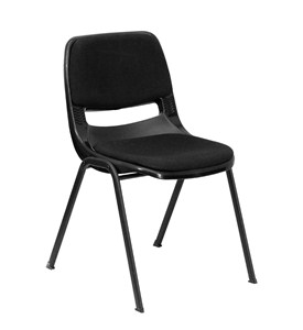HERCULES Series Black Ergonomic Stack Chair with Padded Seat and Back by Flash Furniture Image