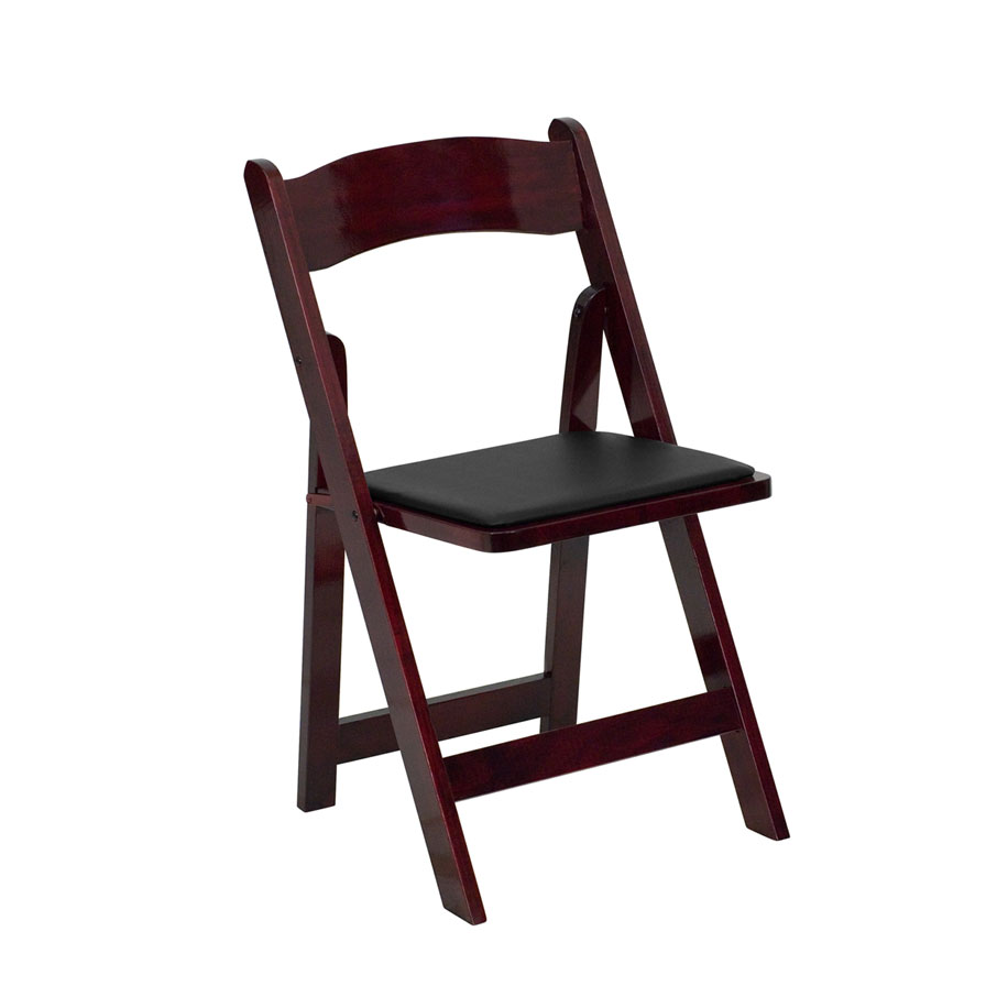 HERCULES Series Wood Folding Chair with Padded Vinyl Seat by Flash Furniture