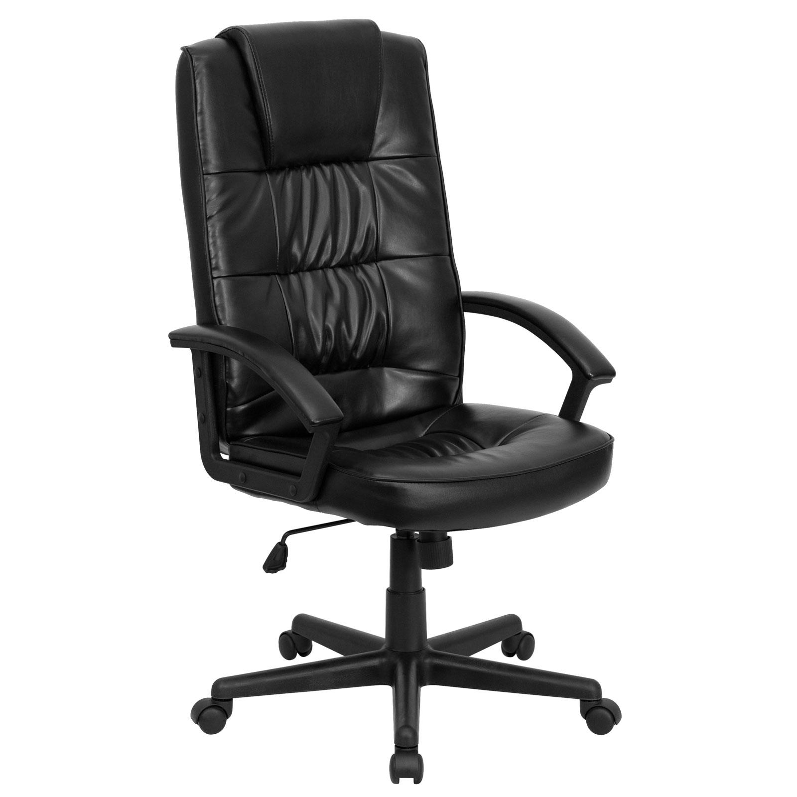 High Back Black Bonded Leather Executive Office Chair by ... Black Office Chair Back View