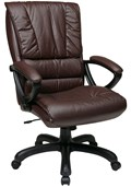 High Back Leather Chair with Pillow Top Seat and Back by Office Star