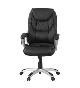High Back Massaging Leather Executive Office Chair with Silver Base by Flash Furniture Image
