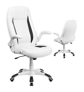 High Back White Leather Executive Office Chair with Flip-Up Arms by Flash Furniture Image