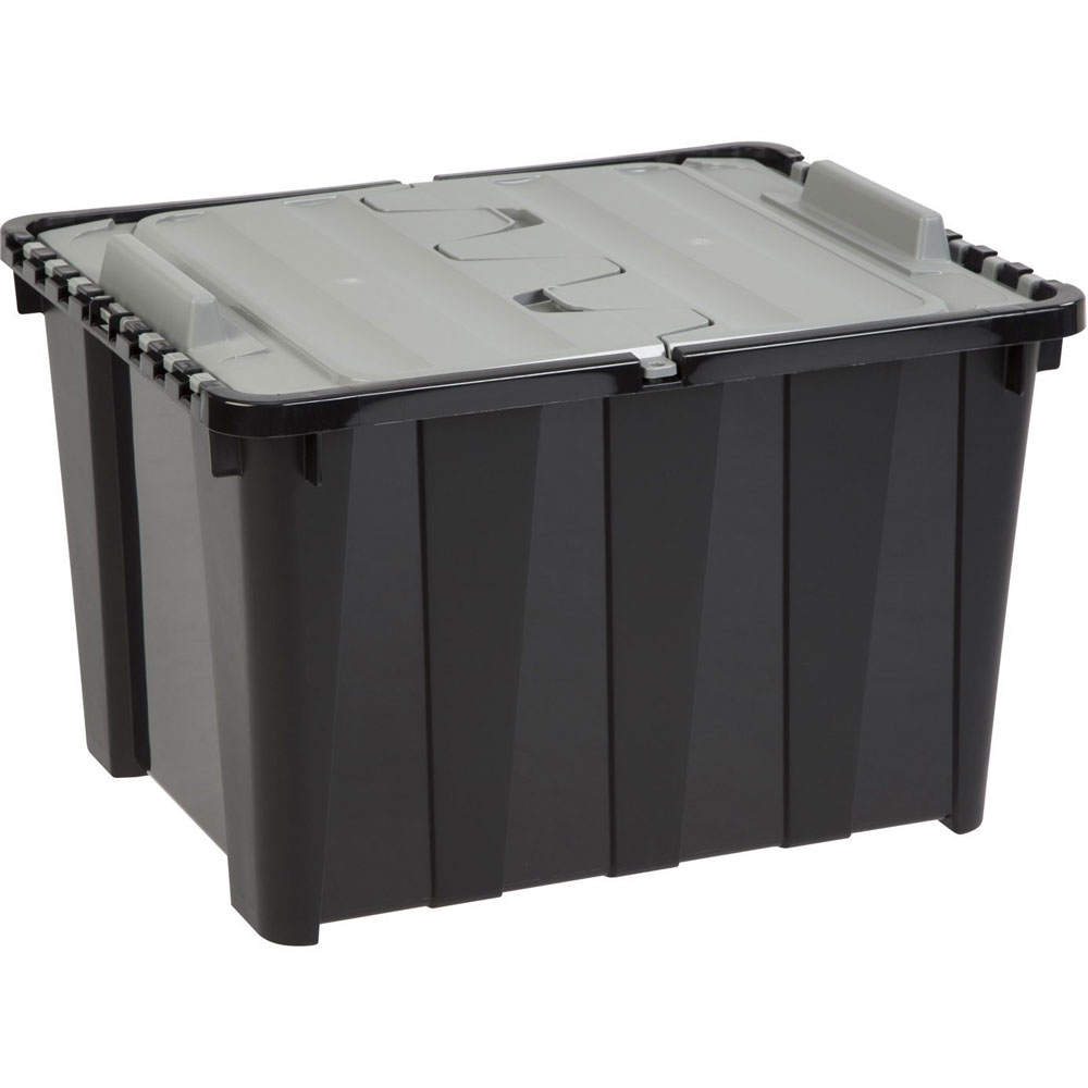 ... Hinged Lid Storage Box   12 Gallon, Clear Plastic ...