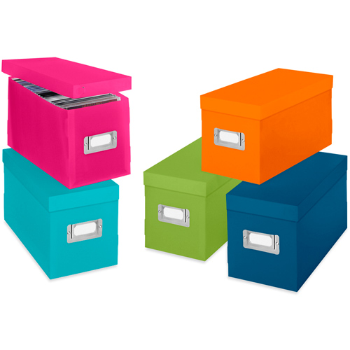 colorful plastic cd boxes in media storage boxes. Black Bedroom Furniture Sets. Home Design Ideas