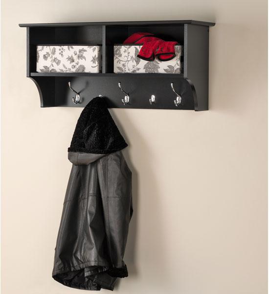 36 Inch Hanging Shelf With Coat Hooks In Wall Coat Racks