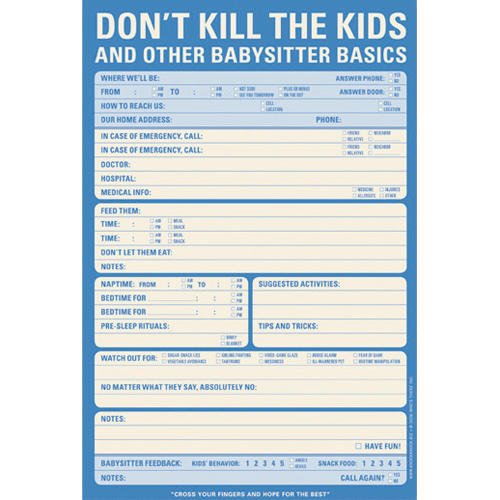 babysitter checklist notepad in notepads and pens
