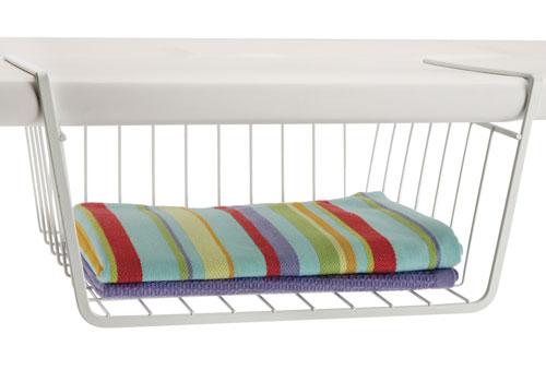 12 inch under shelf storage basket white in under shelf for Under cabinet storage racks