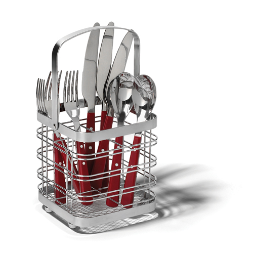 Silver Flatware Caddy in Kitchen Utensil Holders