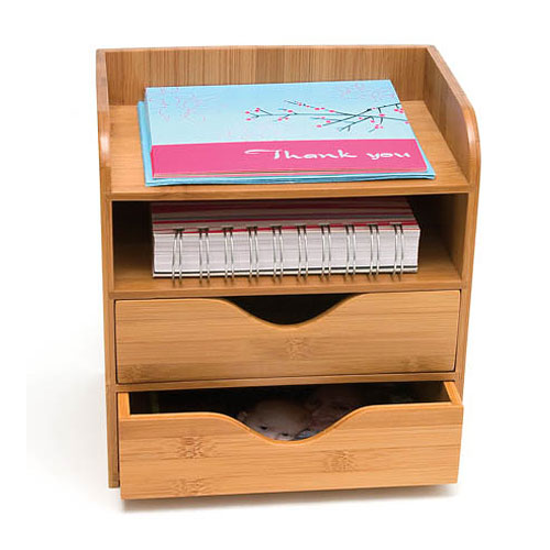 Bamboo four tier desk organizer in desktop organizers - Bamboo desk organiser ...