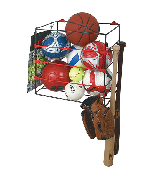 For Garage Ball Organizer : Garage ball rack in sports equipment organizers