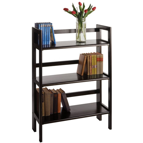 Three Tier Folding Display Shelf Black In Free Standing