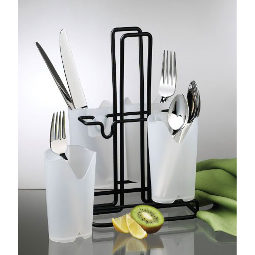 Frosted White Flatware Caddy in Kitchen Utensil Holders