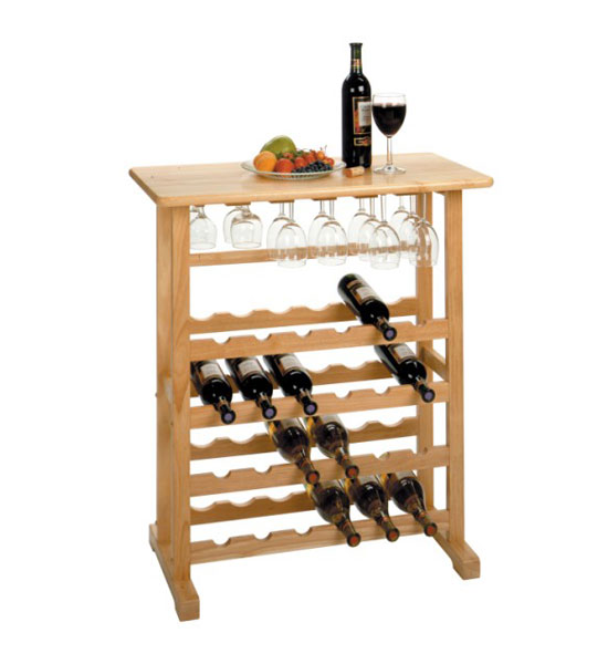 Wooden Wine And Stemware Rack Natural In Wine Racks And Cabinets