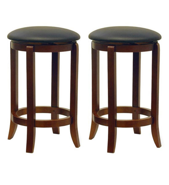 24 inch swivel bar stools walnut finish set of 2 in for 24 inch bar stools