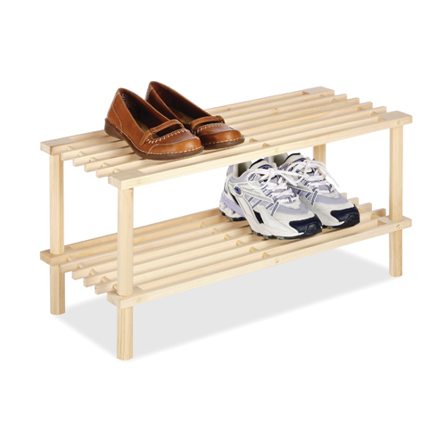two tier wood shoe rack in shoe racks