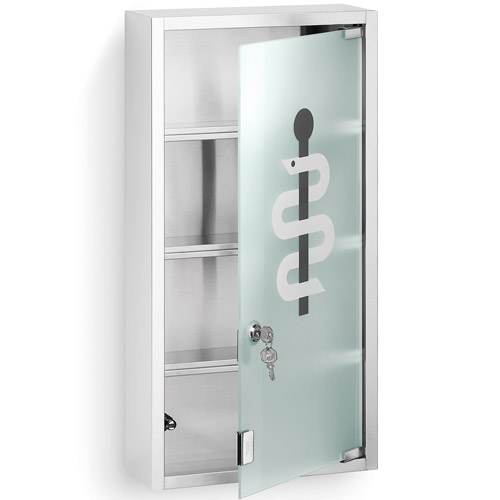 blomus locking medicine chest matte steel in bathroom