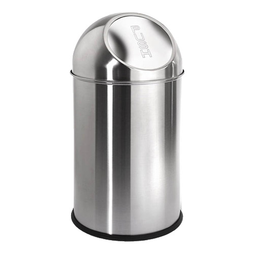 Round stainless steel trash can 2 6 gallon in stainless for Kitchen garbage cans