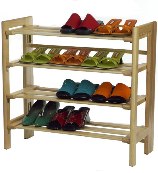 Closet Shoe Storage Shoe Racks Wooden Four Tier Shoe