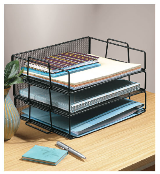 Black Mesh Stackable Paper Tray on organizing your home office ideas