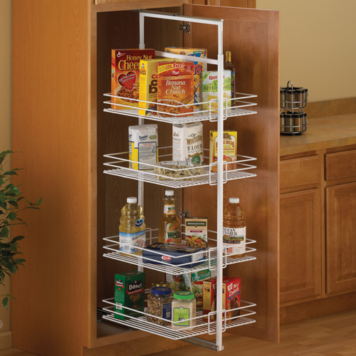 Center mount pantry roll out system white in pull out Kitchen cabinet organization systems