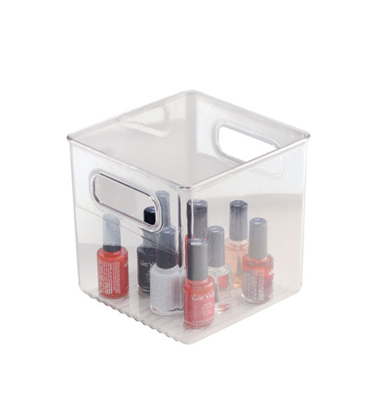 Small plastic storage containers sterilite 19698606 mini clip box clear with blue aquarium for Clear bathroom containers