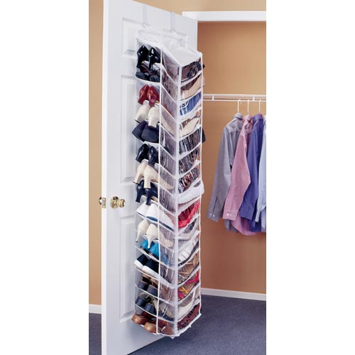 Shoe away 30 pocket organizer in over the door shoe racks for Door shoe organizer