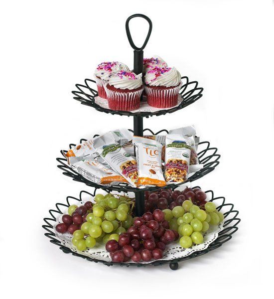 black three tiered twist serving tray in serving trays. Black Bedroom Furniture Sets. Home Design Ideas