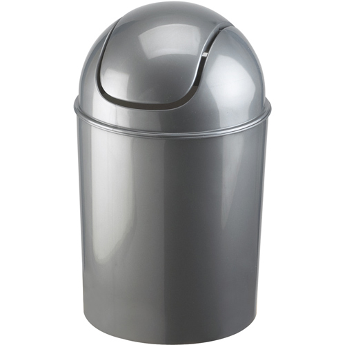 Mini swing top trash can grey in small trash cans for Bathroom garbage can