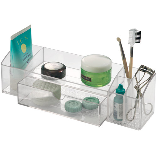 acrylic vanity organizer with drawer in cosmetic organizers