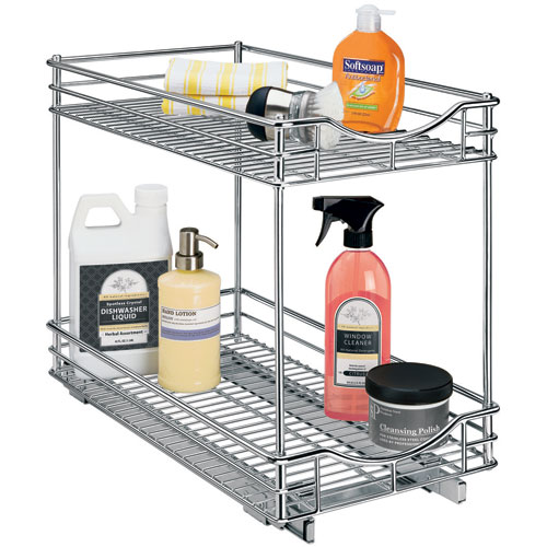 Two Tier Sliding Cabinet Organizer 11 Inch In Pull Out