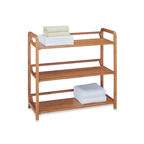 Bamboo 3 Tier Shelf Unit In Free Standing Shelves