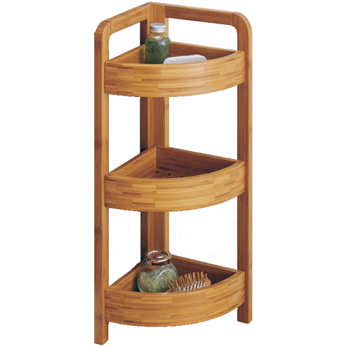 Bamboo Corner Shelf 3 Tier In Free Standing Shelves