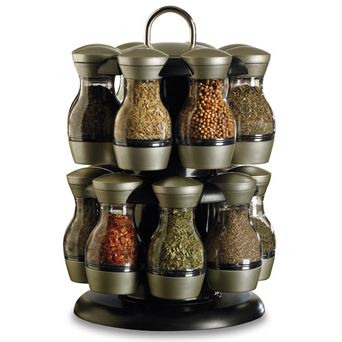 16 Jar Revolving Spice Rack With Spices In Spice Racks