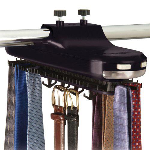 Motorized revolving tie rack in tie and belt racks for Motorized tie racks for closets