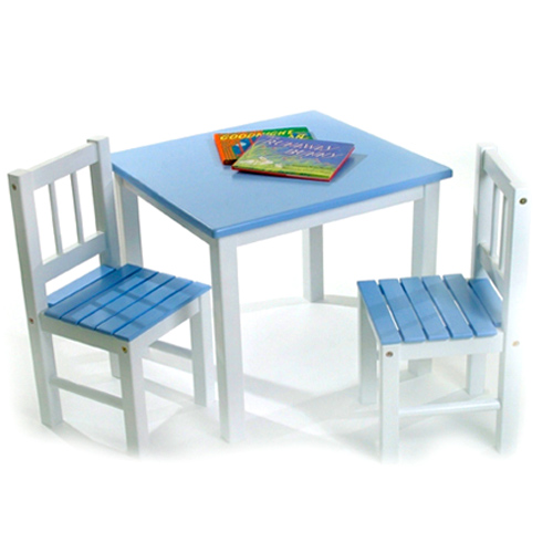 Childrens Wooden Table and Chairs Blue in Kids Furniture