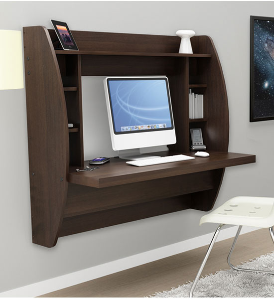 wall mounted desk with storage espresso in desks and hutches