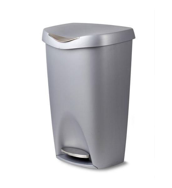 Nickel brim 50 l step can in kitchen trash cans for Kitchen garbage cans