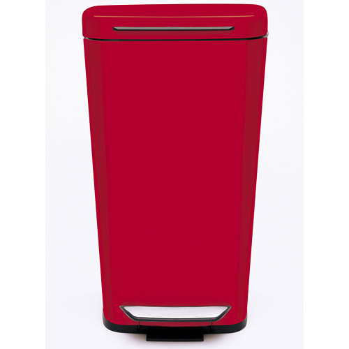 Oxo steel kitchen trash can red in stainless steel trash for Kitchen garbage cans