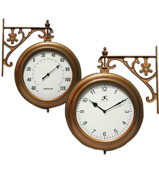 copper clock and thermometer in clocks
