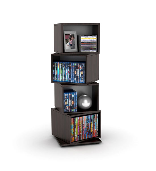 Rotating Cube Media Tower Espresso In Media Storage Towers
