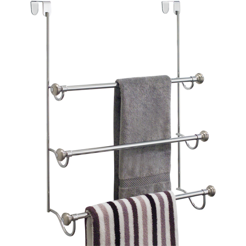 Interdesign over the door towel rack in over the door towel racks for Door towel racks for bathrooms