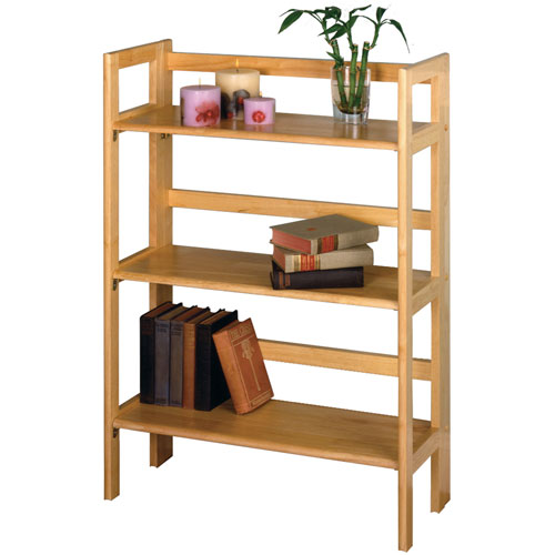 Three Tier Folding Book Shelf Natural In Free Standing